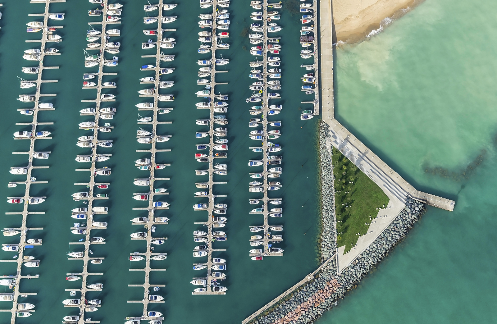 Aerial view of boats in Marina